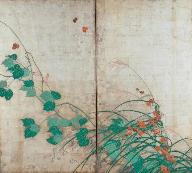 Хоицу 1761–1828. Летние и осенние травы. Парные двухстворчатые ширмы.